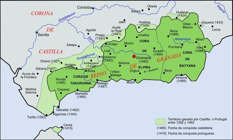 Karta Spanien Granada.Mapa Del Reino Nazari De Granada En Los Siglos Xiv Y Xv Cosas De