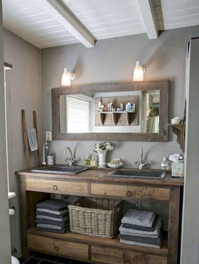 Cool 43 Most Amazing Rustic Bathroom Remodel Ideas Homelizm Com Pinterest Address In 2020 Rustic Bathroom Remodel Bathroom Vanity Remodel Farmhouse Bathroom Decor