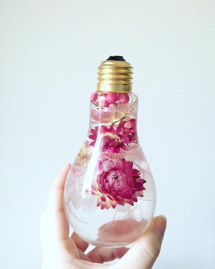 Enchanting Flowers Suspended In Light Bulbs Glisten Like Precious