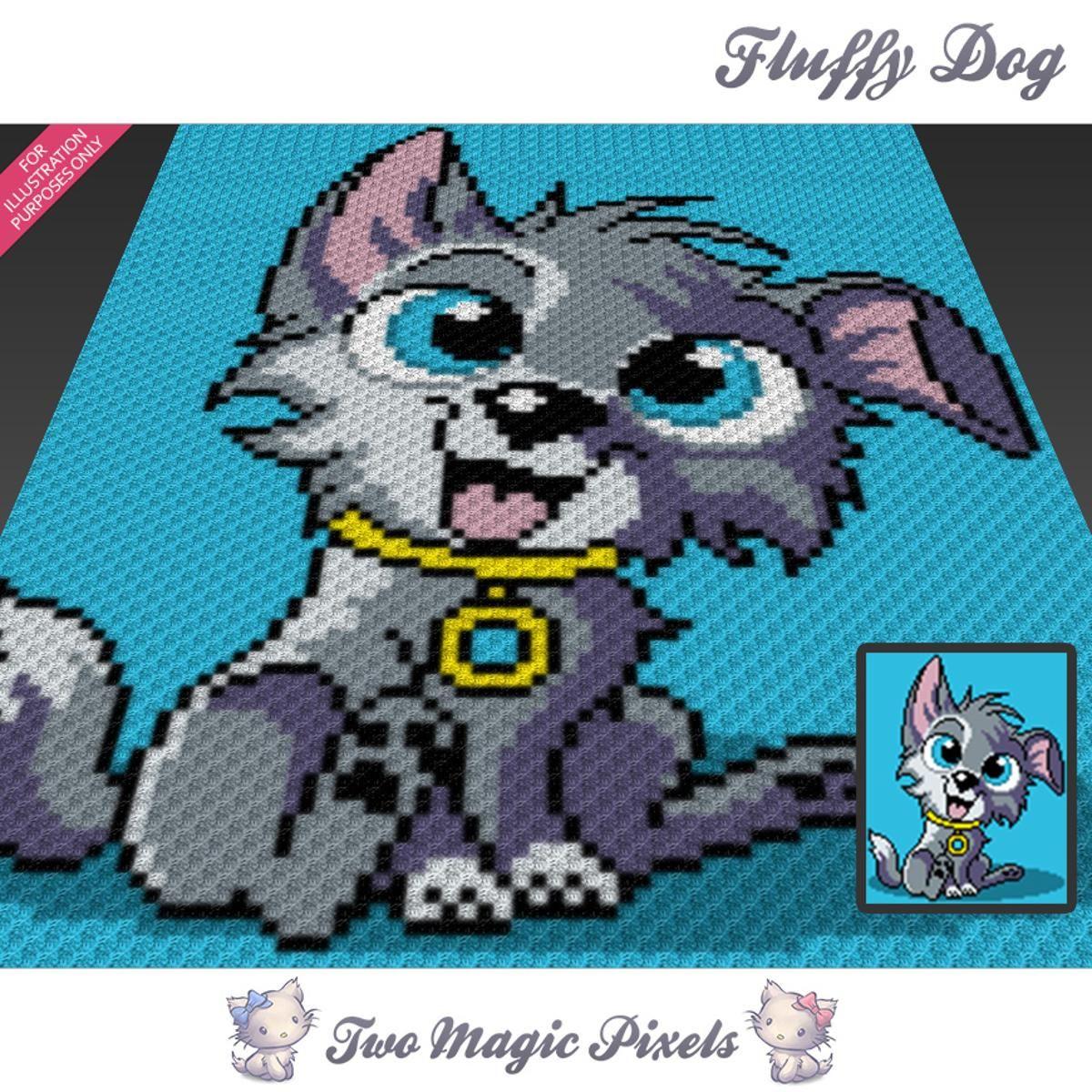 Fluffy Dog Graph C2C Crochet Graph | Decken, Hunde und Häkeln