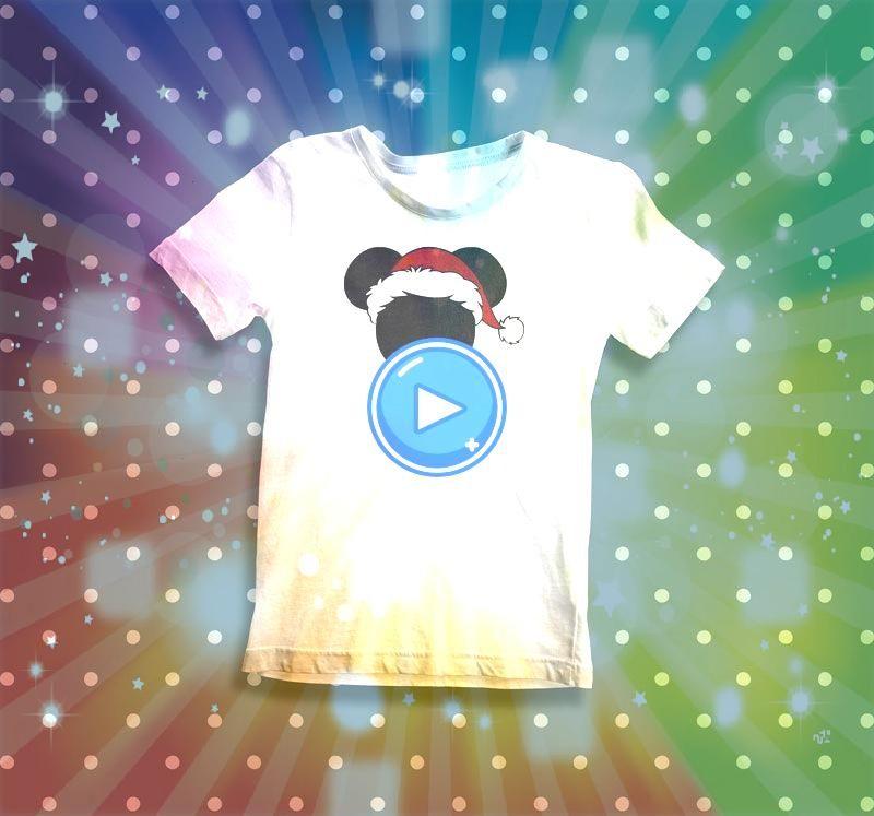 Niño Mickey Santa  20000 Playera con diseño Mickey Santa 100 Algodón Cuello Redondo Manga Corta Estampado con vinil textil a tres colores 20000 Playe...