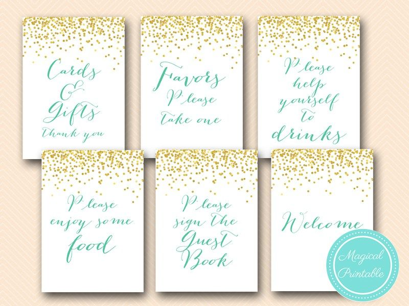 Mint And Gold Bridal Shower Sign Wedding Signs Mint Baby Shower