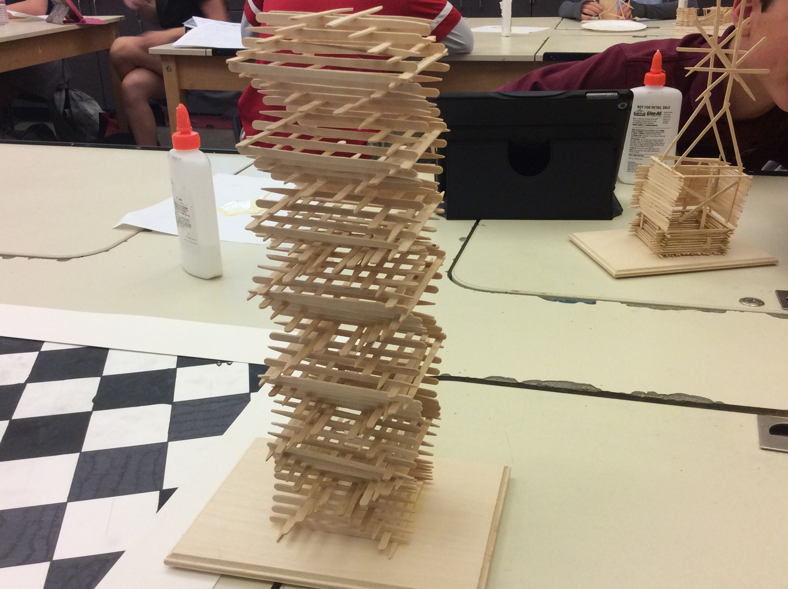 This Is My Tower That I Made Out Of Tooth Picks It Is Barely 12 Inches Tall And 3 1 2 Inches Wide I Used Glue And Toothpicks To Art Class Pattern How To Make