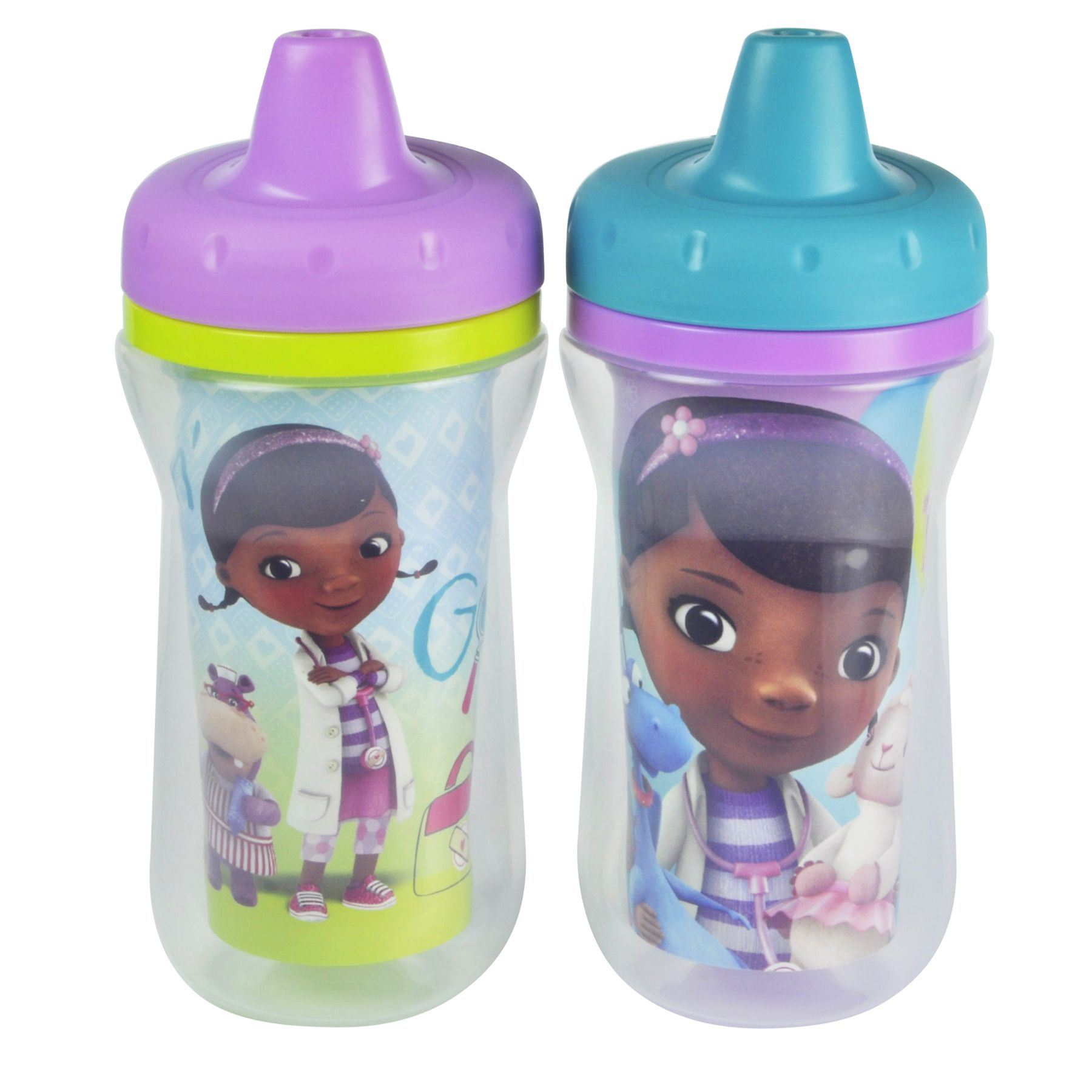 Doc Mcstuffins 2 Pack Insulated Spill Proof Sippy Cups With One Piece Lid From The First Years Toddler Sippy Cups Sippy Cup Baby Disney