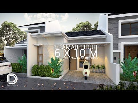 desain rumah 6 x 10 m dengan 3 kamar tidur - youtube