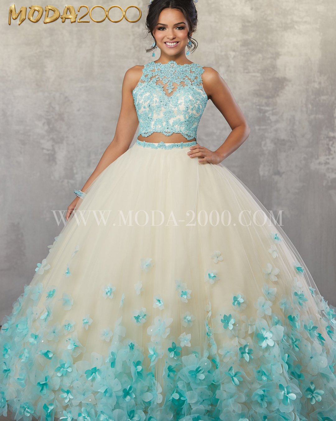 9728630bf7e80 2 piece aqua   champagne quinceañera dress✨ Available at Moda 2000.  Instagram   moda2000inc