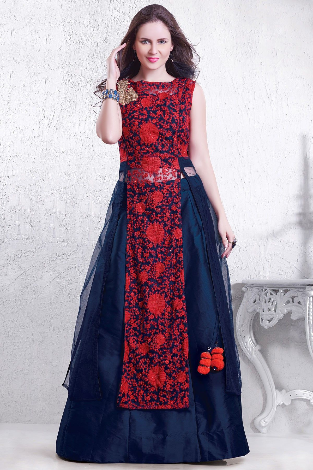 Red & midnight blue exciting silk Indo-western outfit-GC1079 - Indo ...