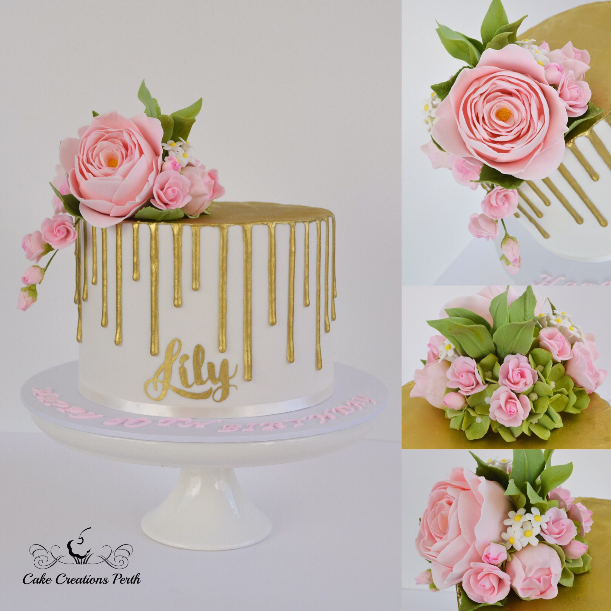60th Birthday Cake Handmade Sugar Flowers Topped This Gold Drip