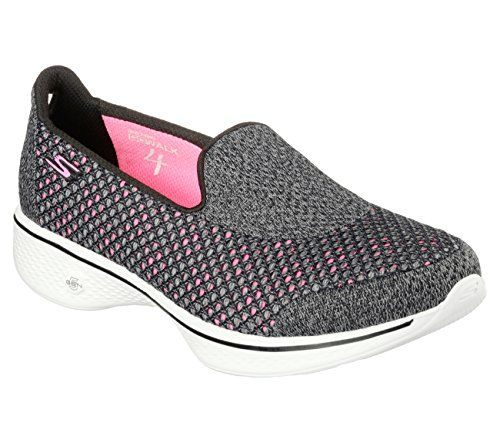 Skechers GOwalk 4 Kindle - Black/Pink Mesh Slip-On Walking Sneaker