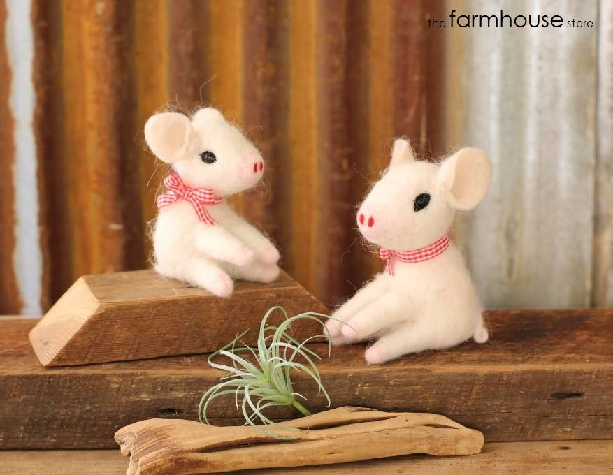 """The The Farmhouse Store's lease has a 'no livestock' clause....These felt piggies will just have to do.   Approximate size: 4"""" x 3"""" x 5""""  facebook.com/thefarmhousestoreprinceton"""