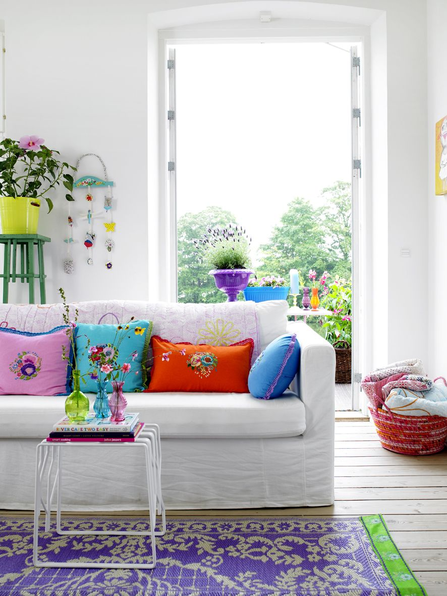 Rice: Color Me Happy! | Saturated color, Living rooms and White sofas