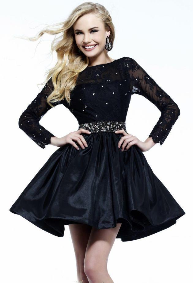 801aa77349 Black dress sexy lace deep V neck racerback long sleeve princess ...