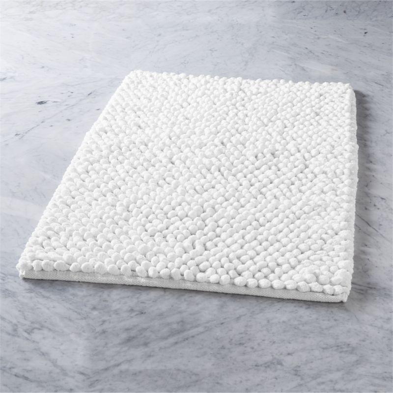 Shop Cirrus White Bath Mat Fluffy Chenille Pompoms Soften Hard