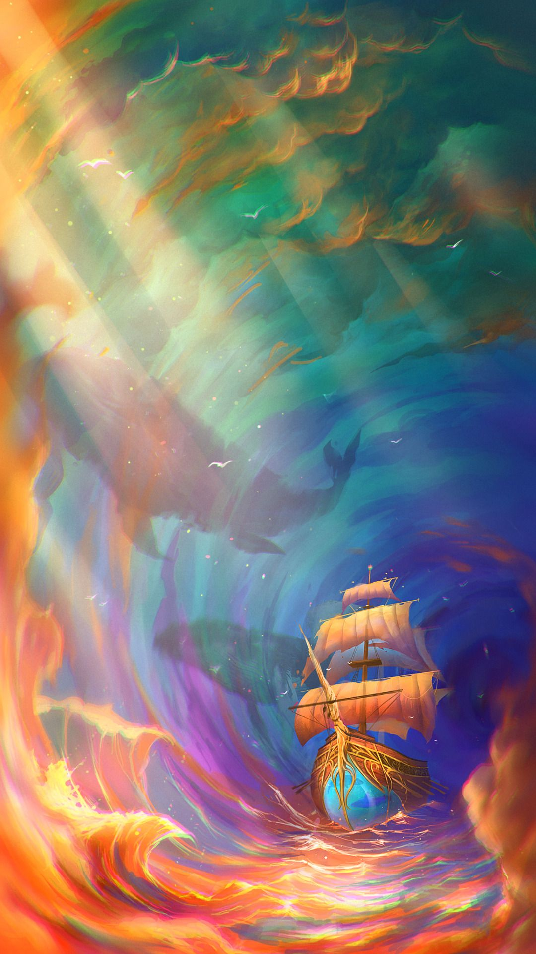 Boat in the deep sea wallpaper Art, Painting, Fantasy