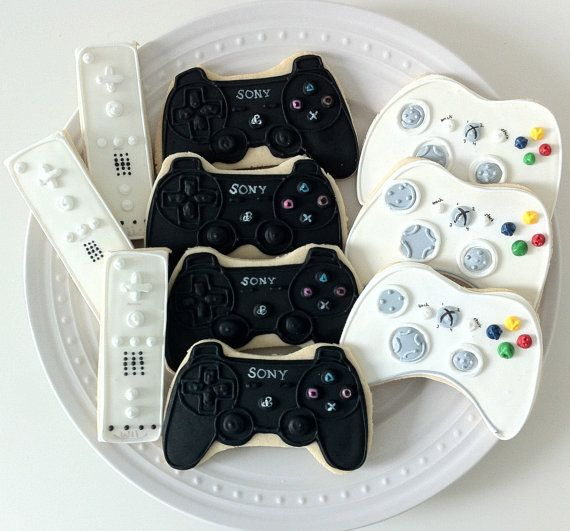 Gamer Decorated Cookies Wii Xbox and Playstation by peapodscookies, Book your Video Game Party Package Today! Chicagoland and Northwest Indiana visit: www.RollingVideoGamesChicago.com #chicago
