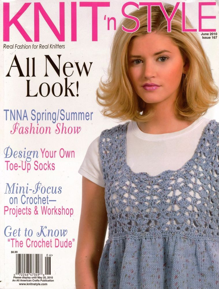 Knit n Style June 2010 Summer Tops Toe Up Socks Crochet Machine Knit Patterns #KnitnStyle #KnittingPatterns