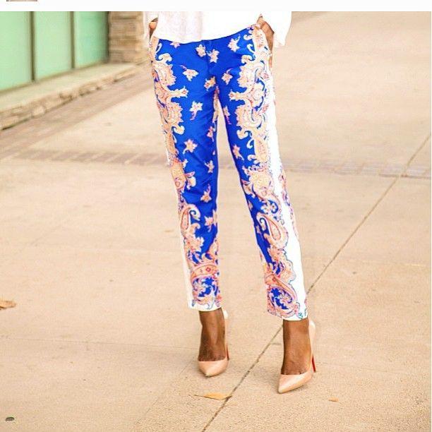 I want those pants shoes!!! #socute #obsessed #stylepantry #printedpants #redbottoms #classy #vousetesbelle #vousetesbellefashion #Padgram