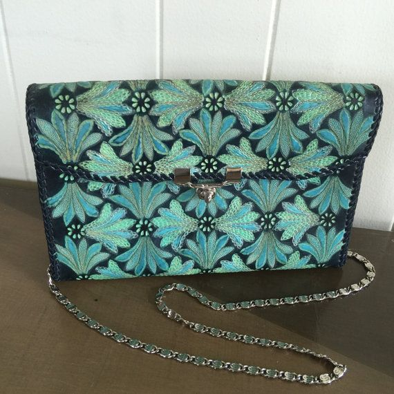 Handtooled Navy Blue Leather Purse Handbag With Chain Strap Vintage Blue Aqua Teal