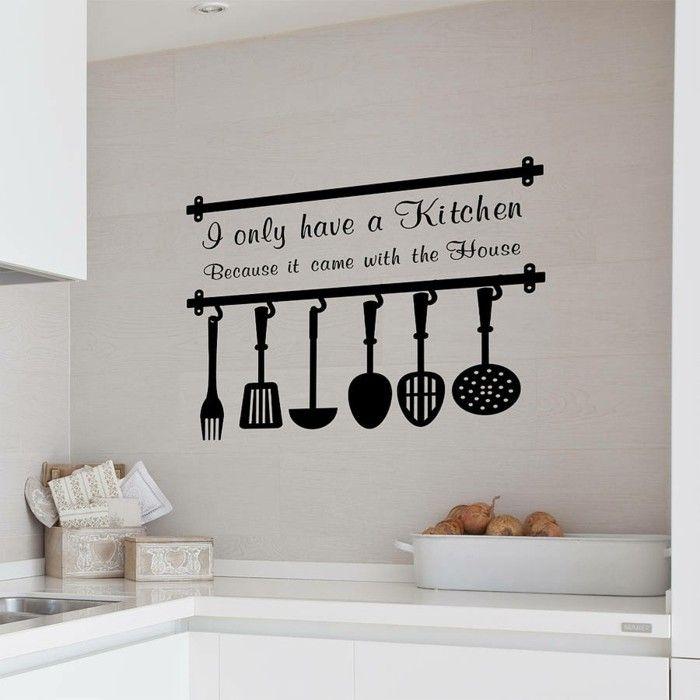 deko ideen küche wanddeko ausgefallenr wandsticker schwarz ...