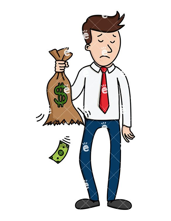 a sad businessman holding a bag that s leaking money friendlystock com rh pinterest com Blank Dollar Bill Clip Art Cartoon Dollar Bill Clip Art