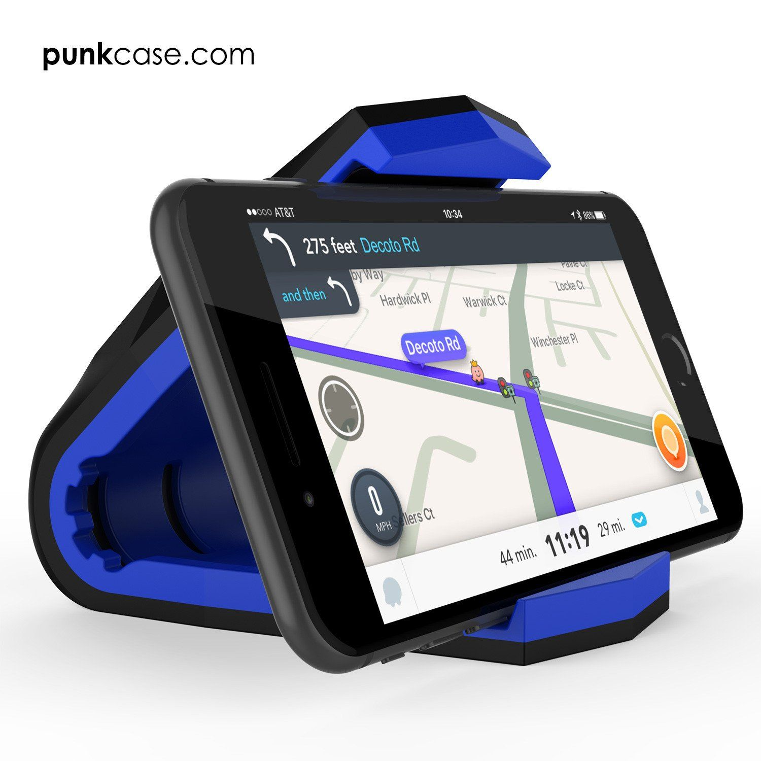 Punkcase viper car phone holder blue universal dashboard mount for all smartphones low profile
