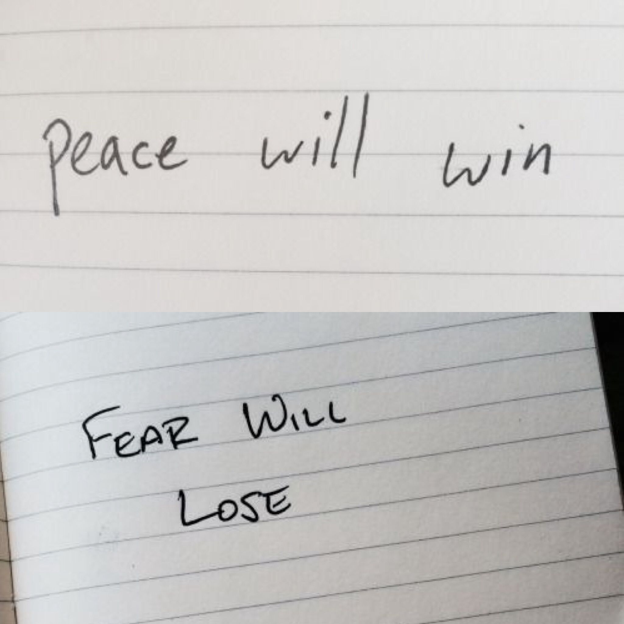 Peace Will Win In Tyler S Handwriting Fear Will Lose In Josh S