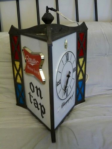 Vintage miller high life beer stained glass sign clock light three vintage miller high life beer stained glass sign clock light three sided hanging aloadofball Choice Image