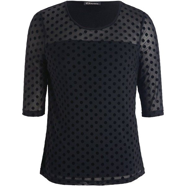 9ec425673c03a Chicwe Women s Stretch Plus Size Dot Mesh Jumper Top Blouse 1X-4X ( 17) ❤  liked on Polyvore featuring tops