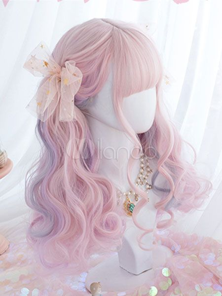Photo of Sweet Lolita Wigs Pink Ombre Long Curly Lolita Hair Wigs With Blunt Bang #Sponso…