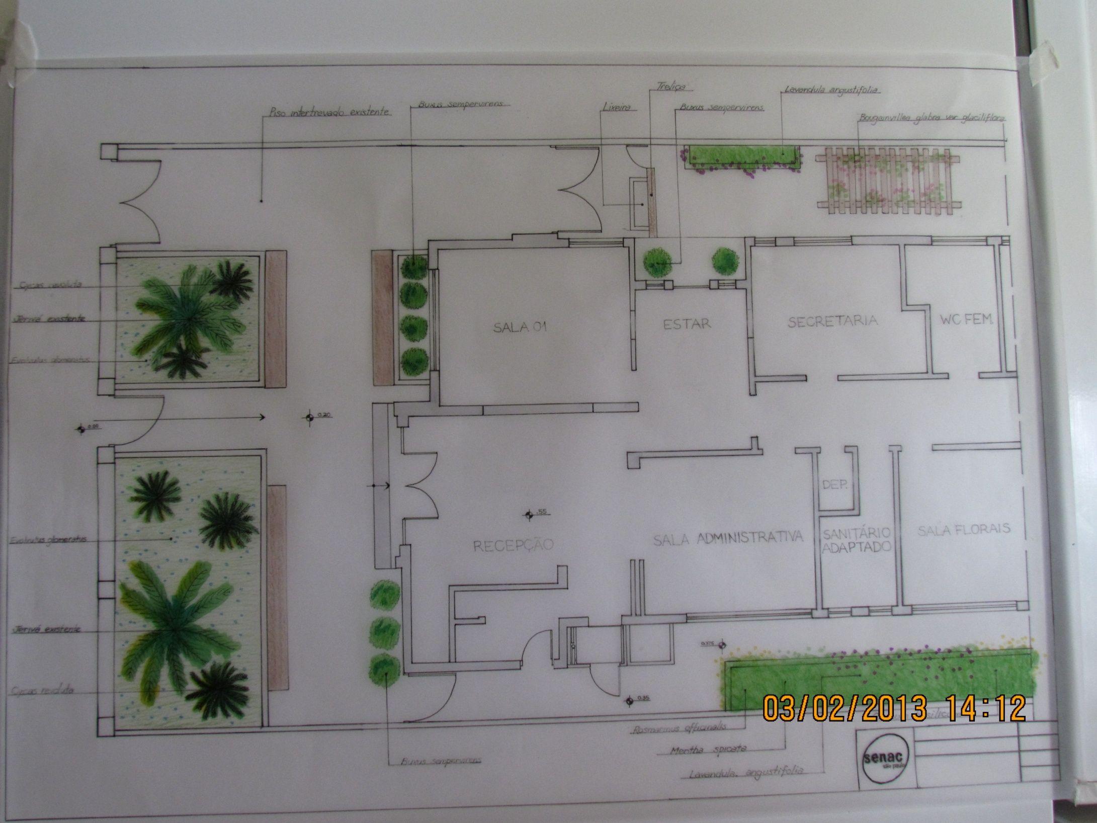 Projeto De Paisagismo Planta Baixa Senac Por Juliana Moreno