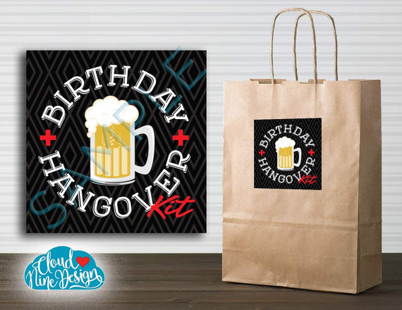 Hangover Kit Sticker Instant Download Beer BirthdayPrintable