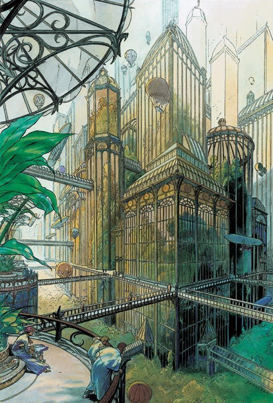 Land of Masks and Jewels, Image 1: Cityscape by Luc Schuiten Image 2: art...