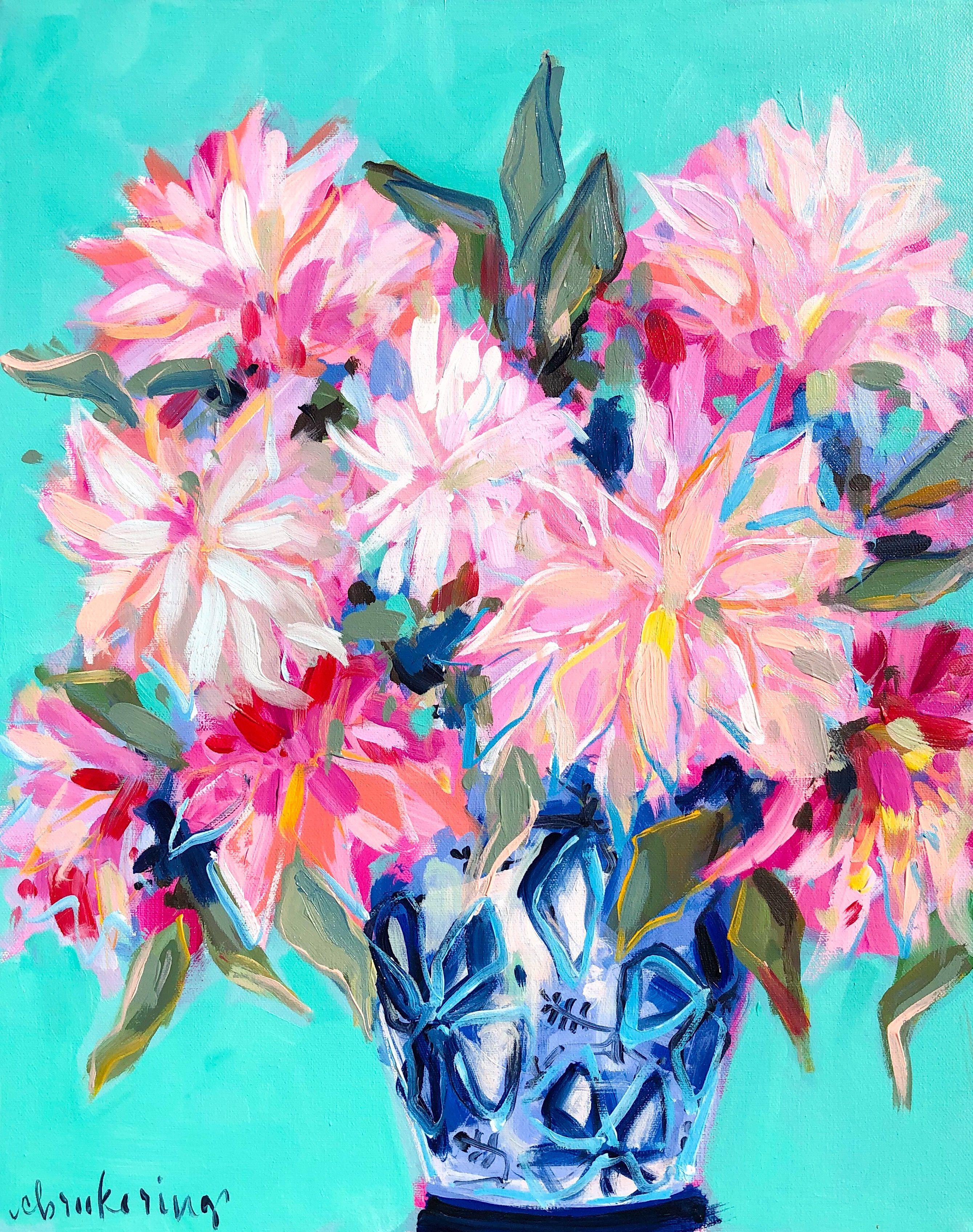 Cafe Au Lait Dahlias Flower Art Art Abstract Art Painting