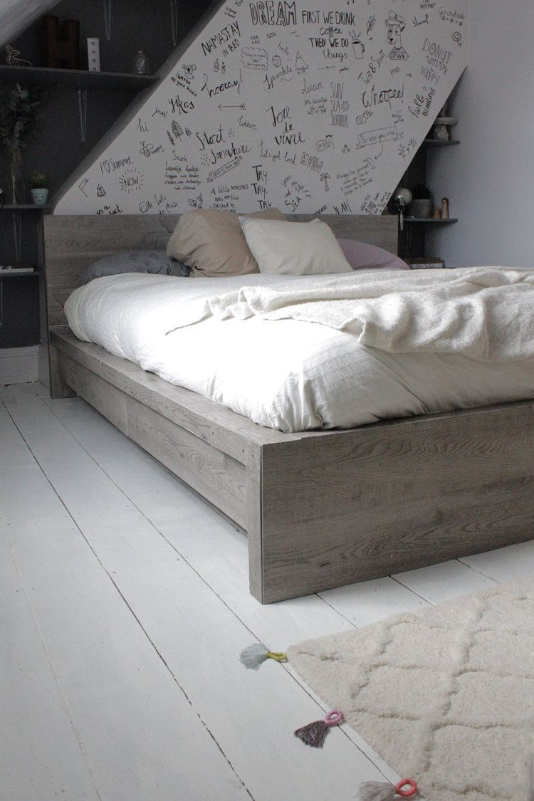 Sep 30 Ikea hack, Rustic look for a Malm bedframe | Pinterest ...