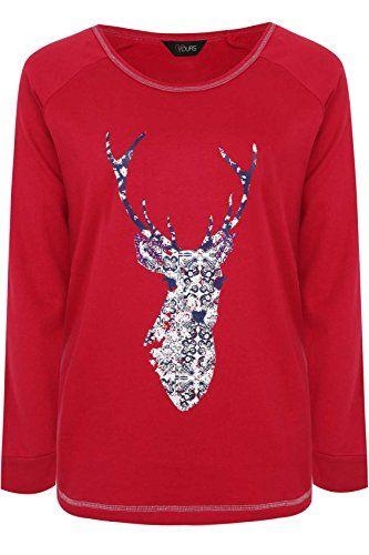 Size 20//22 Pretty Secrets Christmas Reindeer Heart Red Pyjama Short Sleeve Top