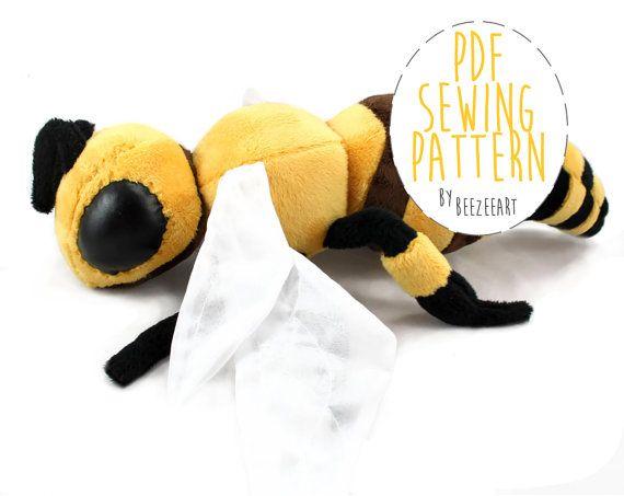 Biene gefüllte Tier Schnittmuster DIY Nähen Tutorial von BeeZeeArt ...