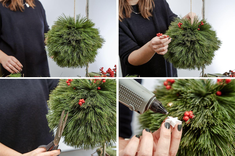 Weihnachtliche DIY PomPoms aus Nadelzweigen - craftifair