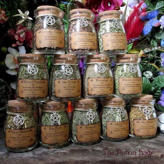 Set of Witch's Herbs Jars, Sacred Herbs, Wiccan Herb Jars, Herbal ...