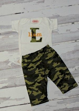 Personalized baby boy camo pants outfit sassy locks pinterest personalized baby boy clothes monogram baby boy camo by lilmamas negle Image collections