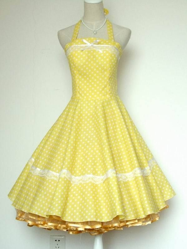 50s yellow polka dot - Google Search | Vintage 50s Dresses & Gowns ...