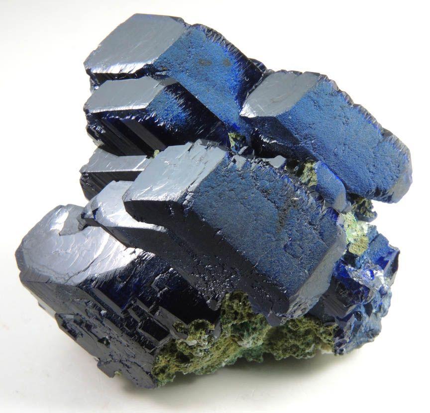 Mineral Specimens: Azurite on Duftite from Tsumeb Mine, Otavi-Bergland District, Oshikoto, Namibia