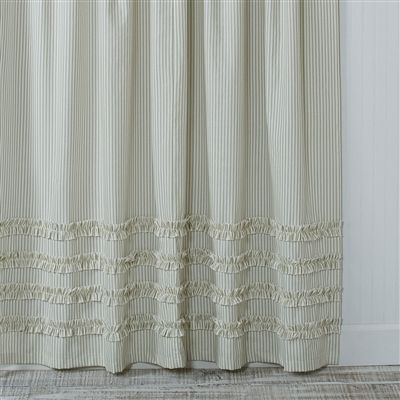 extra brown and red shower curtain. Vintage Ticking Stripe Shower Curtain with Ruffles  3 Sizes Black Gray Navy Brown Red