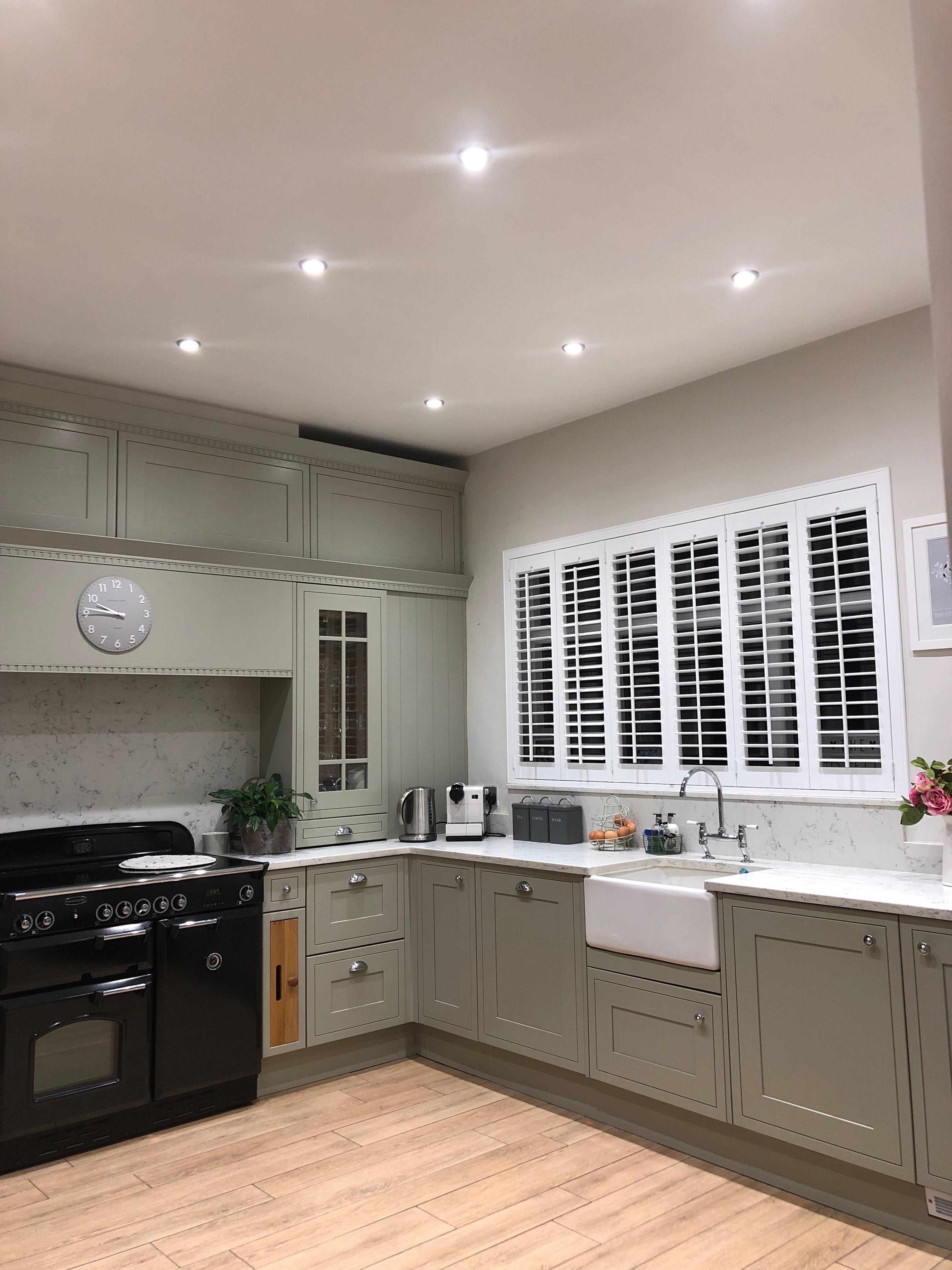 Grey Sage Green Kitchen Sage Green Kitchen Green Kitchen Decor Open Plan Kitchen Dining Living