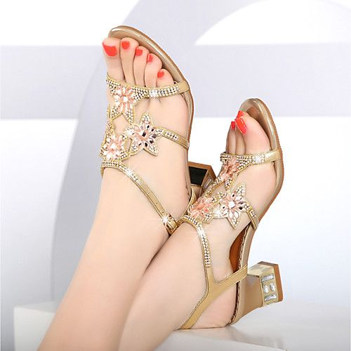 8a859879173 Women s Shoes Nappa Leather   Glitter Summer Club Shoes Sandals Chunky Heel  Rhinestone Gold   Purple   Blue   Party   Evening 2018 - US  34.99