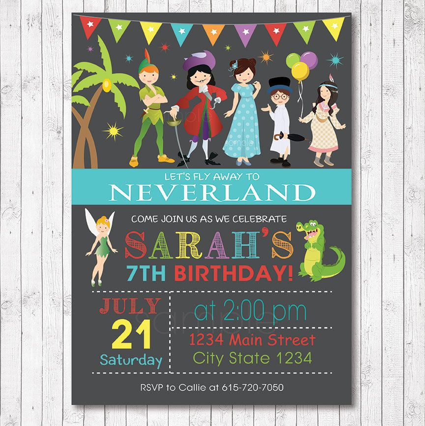 Neverland Invitation, Neverland invite, neverland birthday, Digital ...