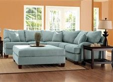 Nice Blue Sectional Sofa 6 Reclining