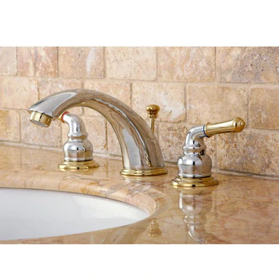 Kingston Brass Georgian Polished Brass 2 Handle Widespread Bathroom Sink Faucet With Drain Lowes Com In 2020 Widespread Bathroom Faucet Kingston Brass Bathroom Faucets Chrome