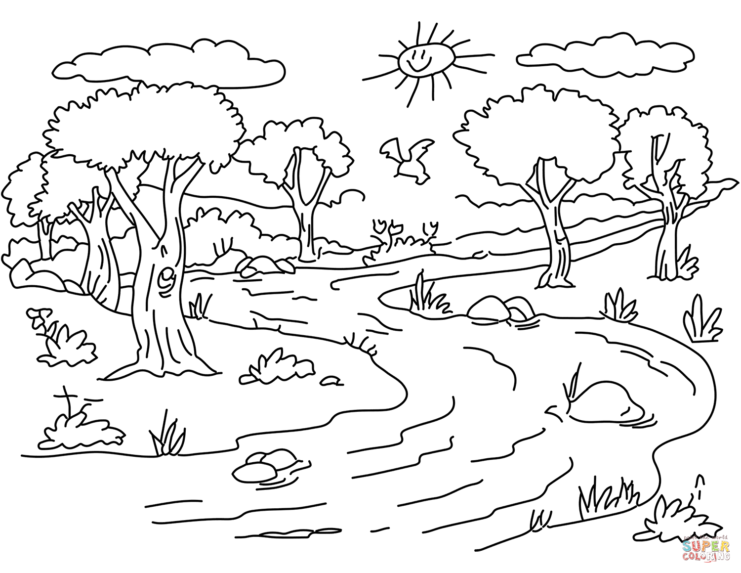Free Coloring Pages Of Nature Landscape Drawing For Kids Coloring Pages Nature Nature Drawing