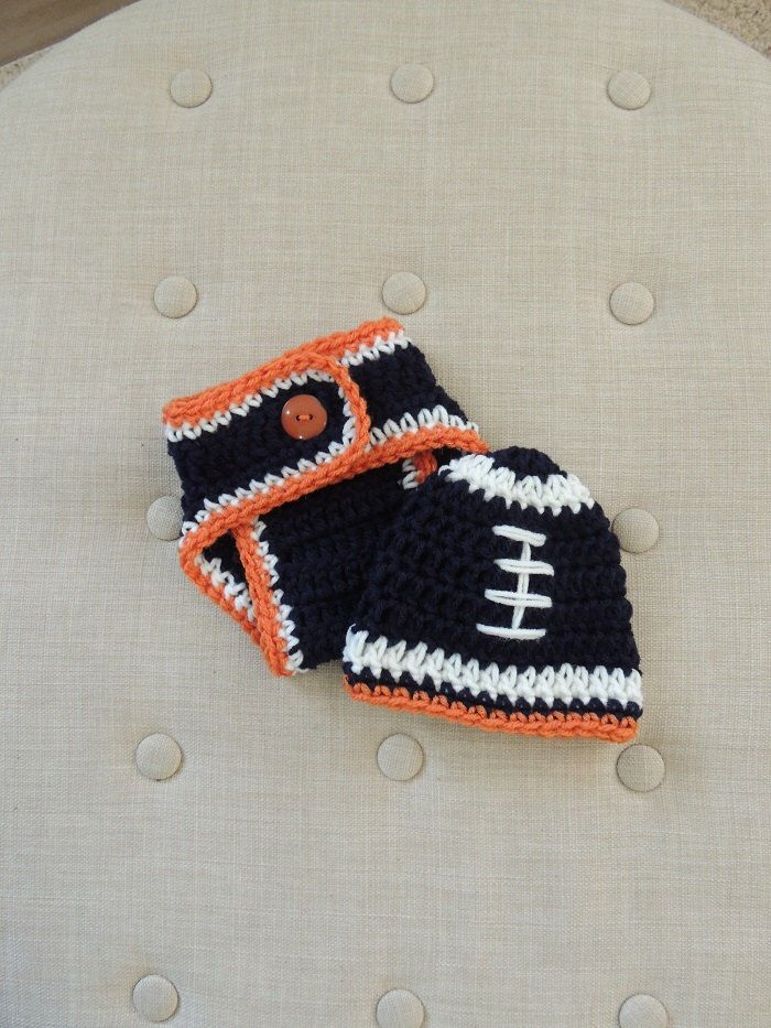 42a8e8663 Crochet Bronco Diaper Cover Set