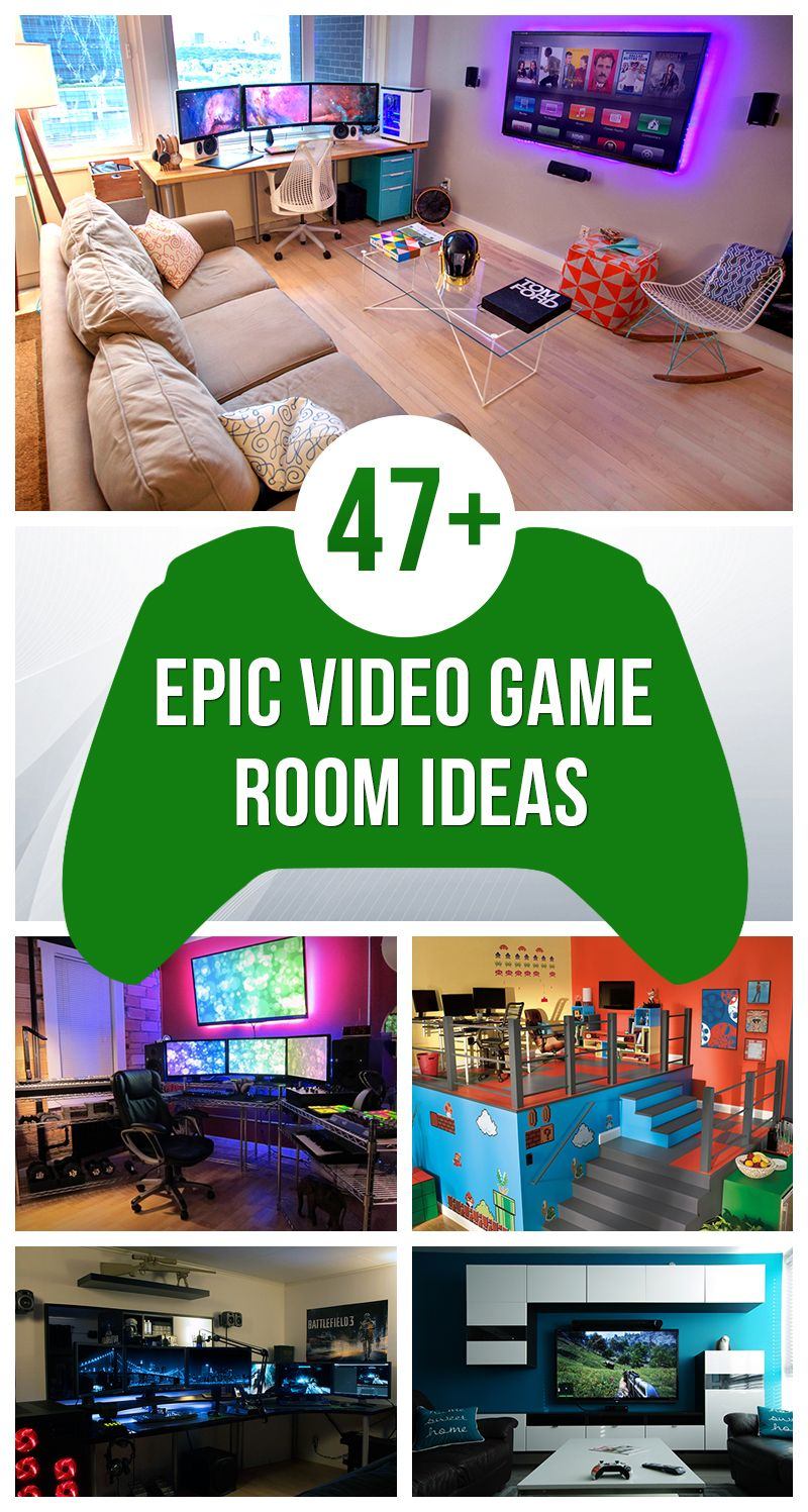 47 epic video game room decoration ideas for 2018 videogames pinterest videospiele. Black Bedroom Furniture Sets. Home Design Ideas